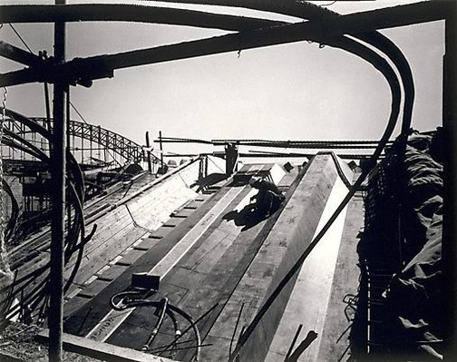 An image of Forming for support beams (Sydney Opera House) by Max Dupain