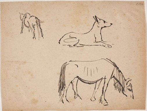 An image of (Horse and dog studies) (Early Sydney period) by William Dobell