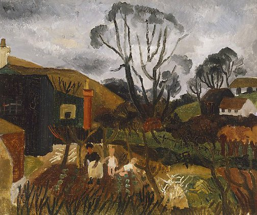 An image of Cottages in Cornwall by Christopher Wood