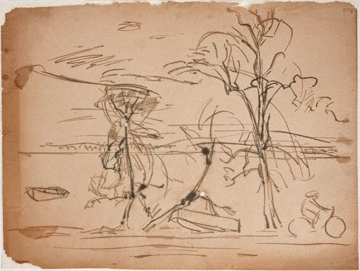An image of (Landscape with cyclist) (Sketches from Wangi and Lake Macquarie) by William Dobell