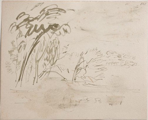 An image of (Landscape with houses) (Sketches from Wangi and Lake Macquarie) by William Dobell