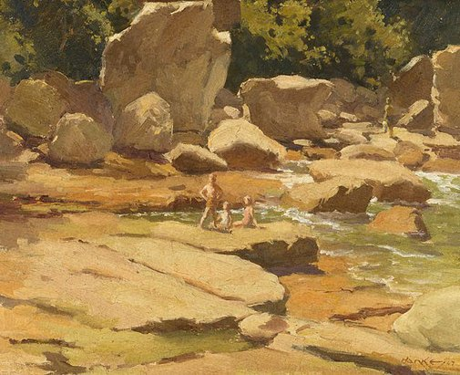 An image of Low tide, Balmoral by Henry Hanke