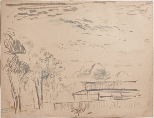 An image of (Trees and house) (Sketches from Wangi and Lake Macquarie) by William Dobell