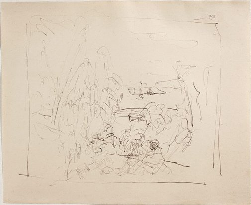 An image of (Landscape with figure) (Sketches from Wangi and Lake Macquarie) by William Dobell