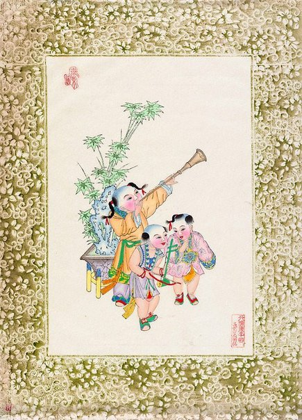 An image of New year print, Children at play (Three children with trumpet) by Unknown