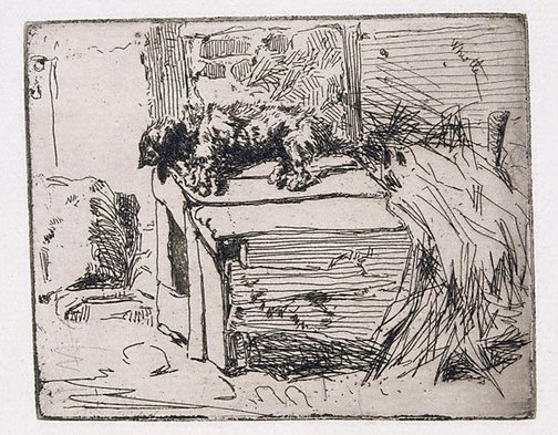 An image of The dog on the kennel by James Abbott McNeill Whistler