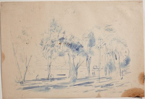 An image of (Landscape with figures and telephone pole) (Sketches from Wangi and Lake Macquarie) by William Dobell