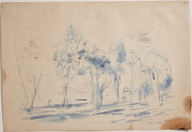 An image of (Landscape with figures and telephone pole) (Sketches from Wangi and Lake Macquarie)