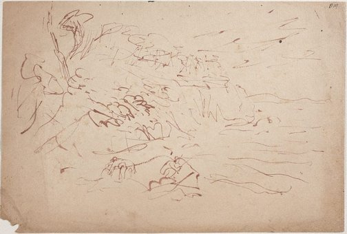 An image of (Coastline with figures fishing) (Sketches from Wangi and Lake Macquarie) by William Dobell