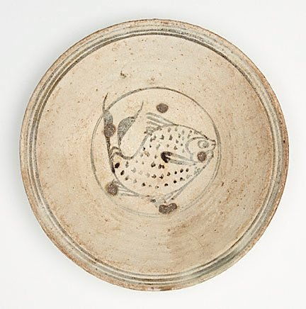 An image of Dish with fish design in central medallion by Sawankhalok ware