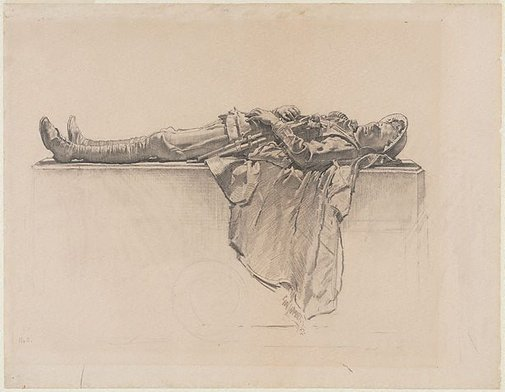 An image of Recumbent figure by George W Lambert