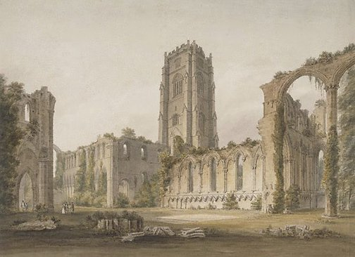 An image of Fountains Abbey, Yorkshire by John Buckler