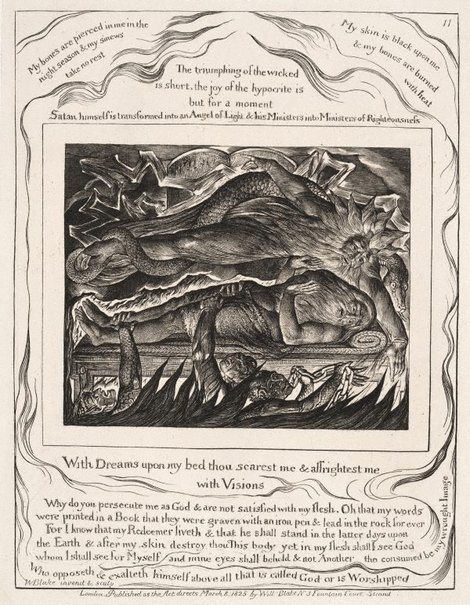 An image of Job's evil dreams by William Blake