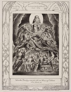 An image of Satan before the throne of God by William Blake