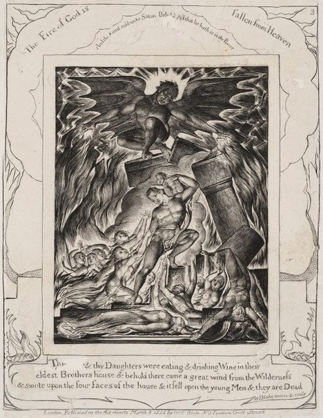 An image of The destruction of Job's sons by William Blake