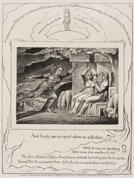 An image of The messengers tell Job of his misfortunes by William Blake