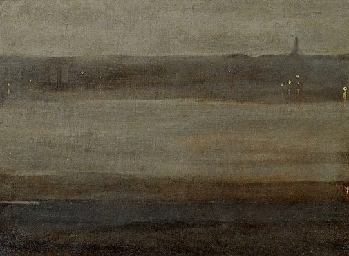 An image of Nocturne in grey and silver, the Thames by attrib. James Abbott McNeill Whistler