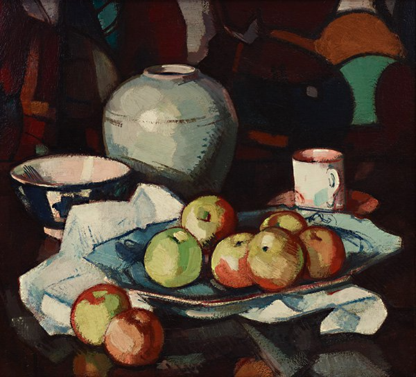 An image of Still life: apples and jar