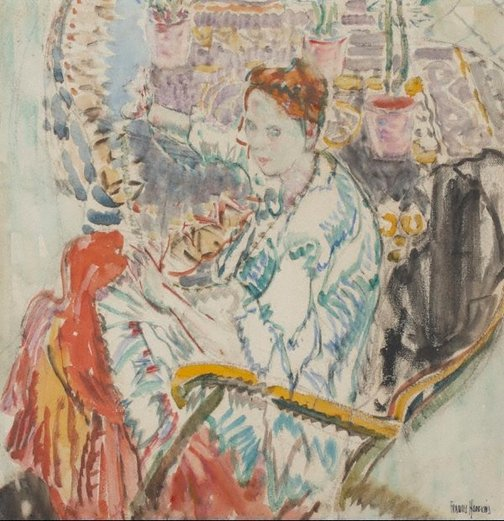 An image of Woman seated in a rocking chair by Frances Hodgkins