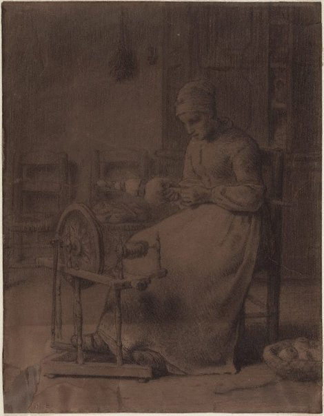 An image of Woman spinning by Jean-François Millet