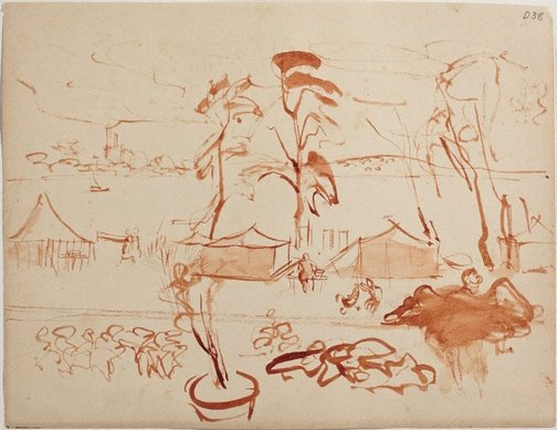 An image of (Camp scene) (Sketches from Wangi and Lake Macquarie) by William Dobell