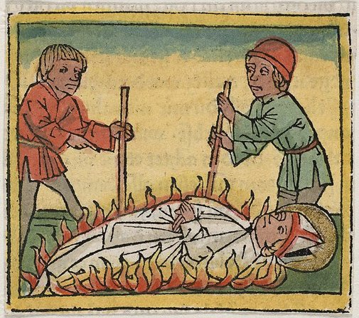 An image of The martyrdom of a bishop by burning by Unknown