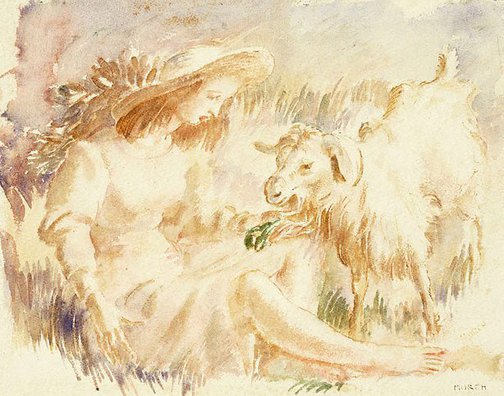 An image of The girl and the goat by Arthur Murch