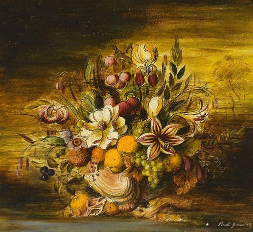 An image of Flowers and fruit by Paul Jones