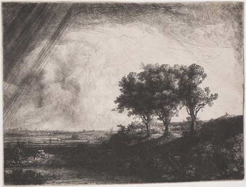 An image of The three trees by Rembrandt Harmensz. van Rijn