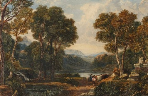 An image of Classical landscape with figures and cattle by Francis Oliver Finch