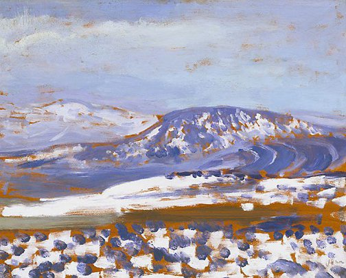 An image of Welsh mountains in snow by Augustus John OM