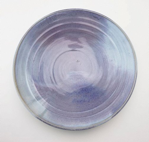An image of Platter with blue and mauve glaze by SHIGA Shigeo