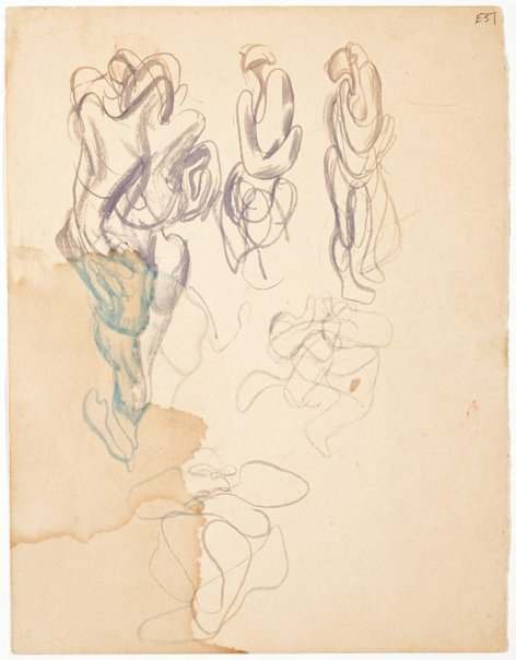 An image of (Abstract figure studies) (Landscapes and natives from New Guinea) by William Dobell