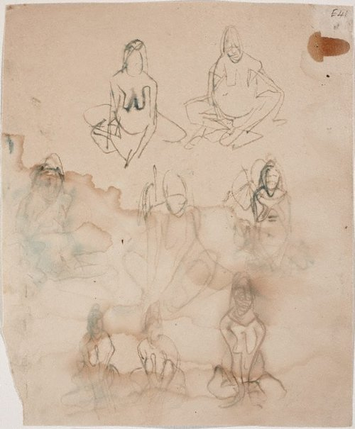An image of (Sitting figure studies) (Landscapes and natives from New Guinea) by William Dobell