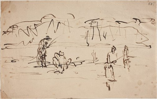An image of (Fishing studies) (Landscapes and natives from New Guinea) by William Dobell