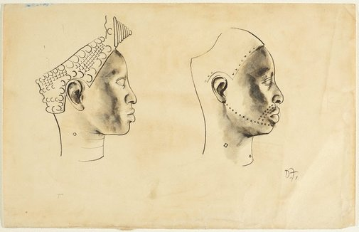 An image of (Two profiles) by Donald Friend