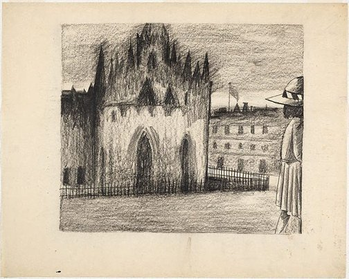 An image of (Schoolgirl and cathedral) by Charles Blackman