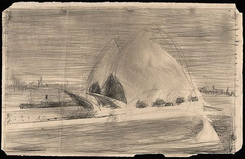 An image of Second drawing for 'Sydney Opera House' by Lloyd Rees