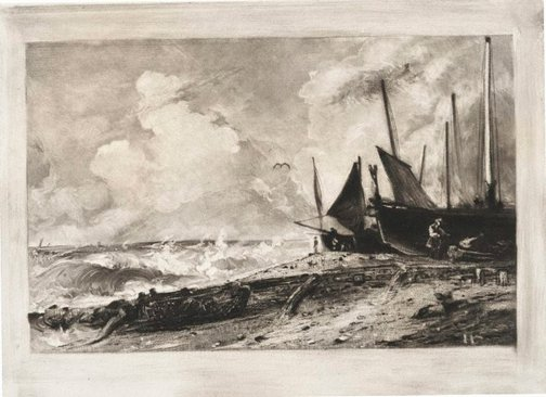 An image of A sea beach by David Lucas, after John Constable