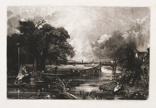 An image of River Stour, county of Suffolk by David Lucas, after John Constable
