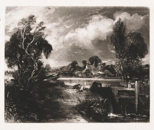 An image of A lock on the Stour by David Lucas, after John Constable
