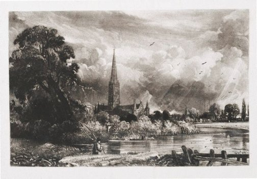 An image of Salisbury Cathedral by David Lucas, after John Constable