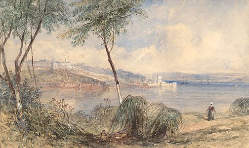 An image of Government House and Fort Macquarie, Sydney by John Skinner Prout