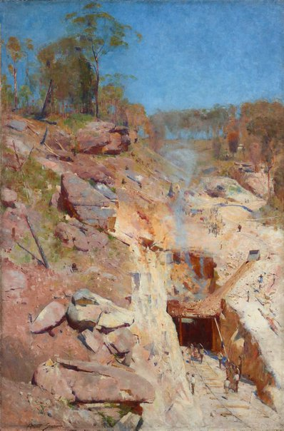 An image of Fire's on by Arthur Streeton