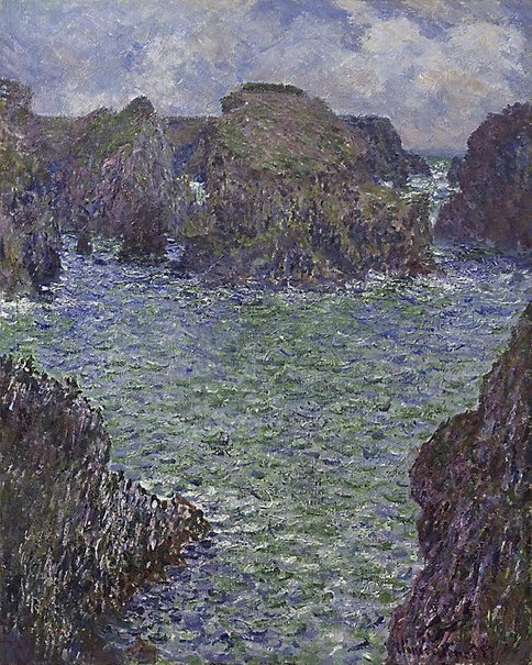 An image of Port-Goulphar, Belle-Île by Claude Monet