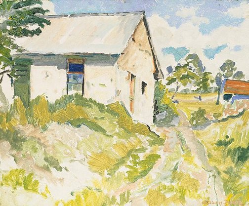 An image of Landscape with white shed by William Frater