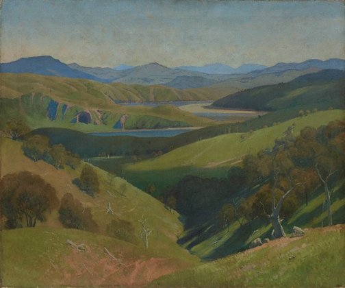 An image of On the Murrumbidgee by Elioth Gruner