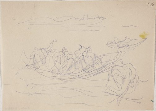 An image of (Figures in a boat) (Landscapes and natives from New Guinea) by William Dobell