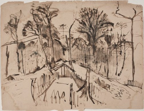 An image of (House amongst the trees) (Landscapes and natives from New Guinea) by William Dobell