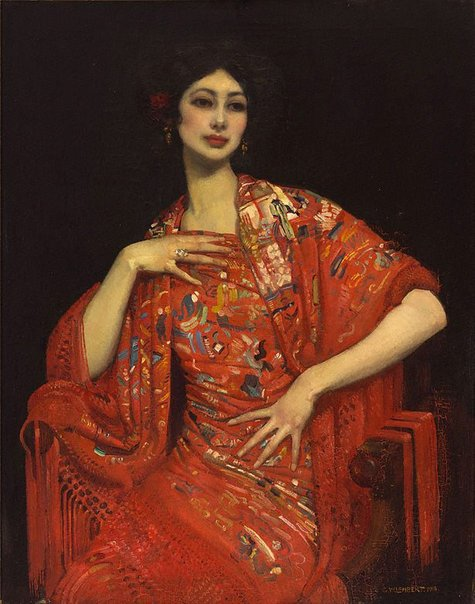 An image of The red shawl by George W Lambert